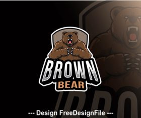 Brown bear esport logo template vector