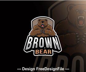 Brown bear esport logo template vector