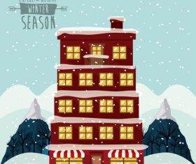 Building and snow cartoon landscape vector
