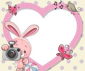 Bunny and heart frame vector