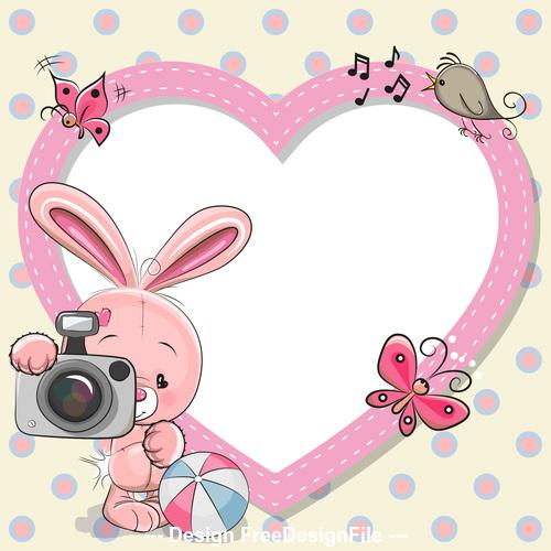 Bunny and heart frame vector