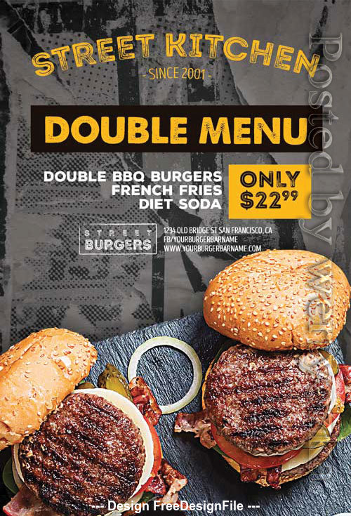Burger Kitchen Poster and Flyer PSD Template