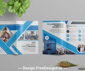 Business brochure with blue elements vector