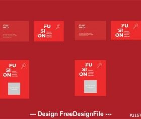 Business card layout set with red vector