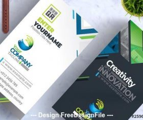 Business card layout with colorful geometric vector