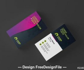 Business card with pink to purple gradient wave element vector