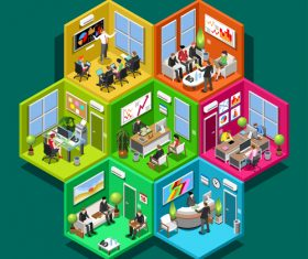 Business cells isometric analytics vector