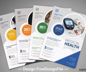 Business flyer layout with circular photo elements vector