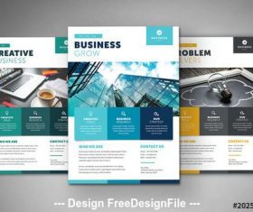 Business flyer layout with colorful squares vector