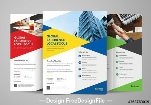 Business flyer layouts in 3 colors vector