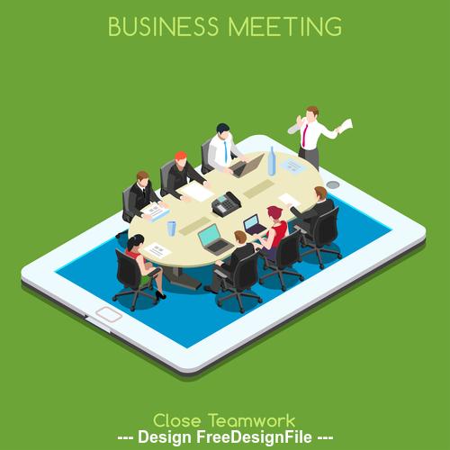 Business meeting close teamwork vector
