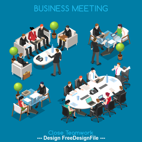 Business people isometric vector