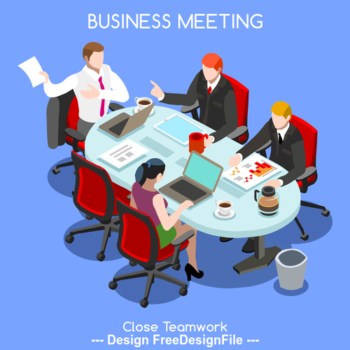 Business report working meeting vector