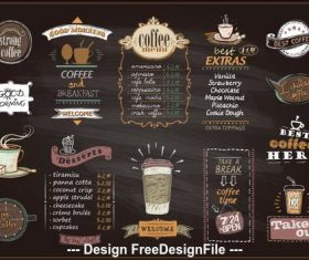 Cafe menu template vector