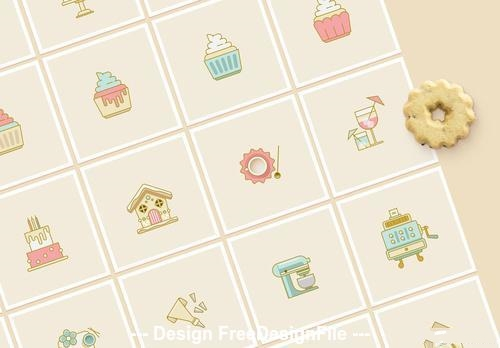 Cake and cookies bakery icon vector