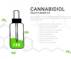 Cannabidiol oil infographic with molecular formula illustrations vector