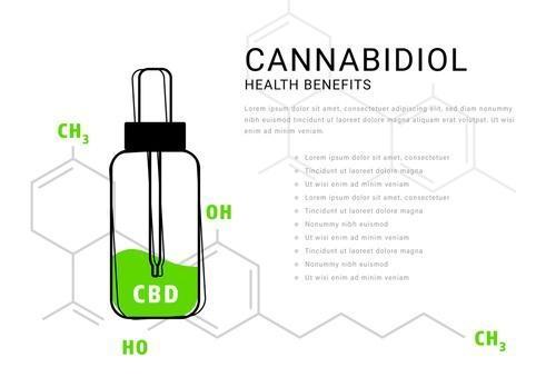 Cannabidiol oil infographic with molecular formula illustrations vector