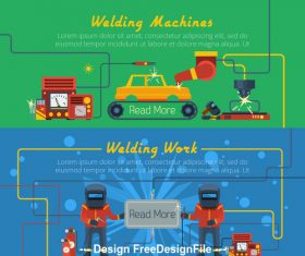 Car welding machine banner vector