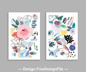 Cards with floral elements vector