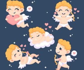 Caring little angel cartoon illustration vector