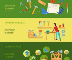 Carpenter workshop banner vector