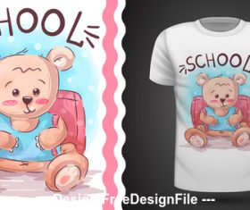 Cartoon bear T-shirt design card vector