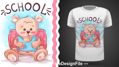 Cartoon bear T shirt design card vector