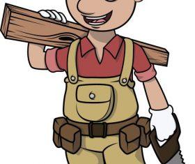 Cartoon character carpenter vector