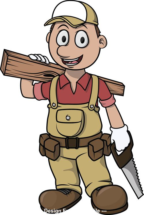 Cartoon character carpenter vector