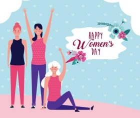 Cartoon characters and womens day greeting card vector