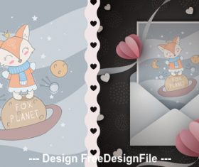 Cartoon fox and t-shirt design card vector