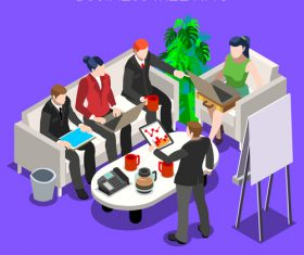 Cartoon illustration business meeting vector