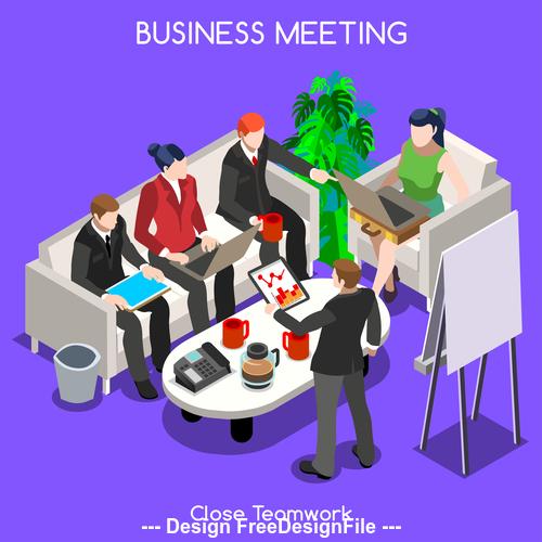 Cartoon illustration business meeting vector