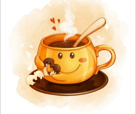 Cartoon illustration funny coffee cup vector