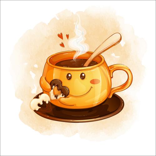 Cartoon illustration funny coffee cup vector