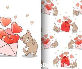 Cartoon kitten with heart vector