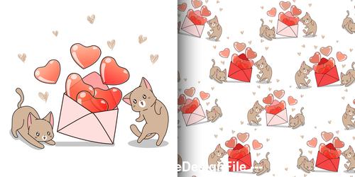 Cartoon kitten with heart vector