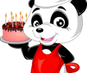Cartoon panda chef and pastry vector