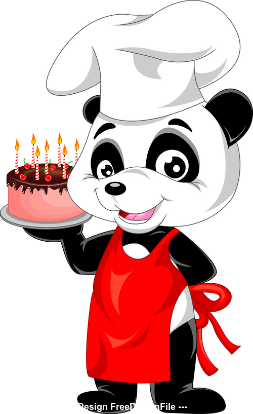 Cartoon panda chef and pastry vector