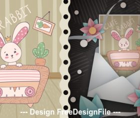 Cartoon rabbit and T-shirt design card vector