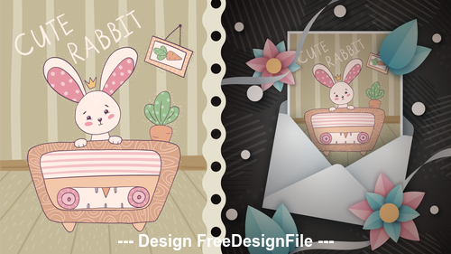 Cartoon rabbit and T shirt design card vector