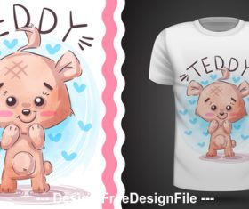 Cartoon teddy and t-shirt design card vector