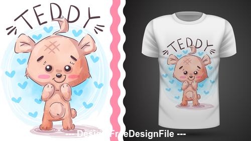 Cartoon teddy and t shirt design card vector