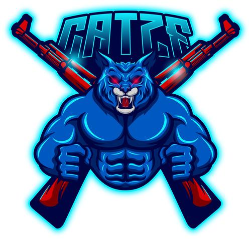 Cat esport logo vector
