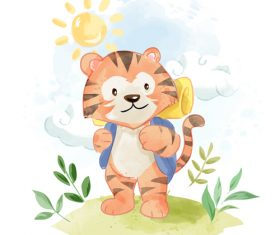 Cat go travel cartoon vector