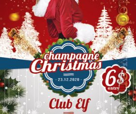 Champagne Christmas Flyer PSD Template