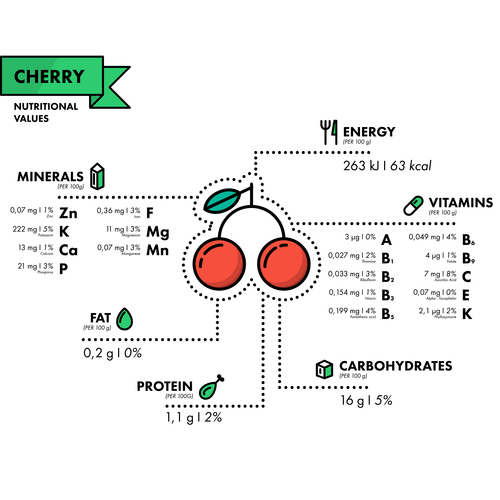 Cherry nutritional Information vector