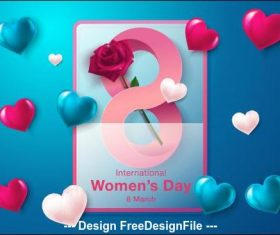 Chic womens day greeting card vector