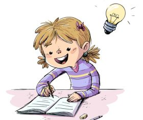 Children doing homework illustration vector