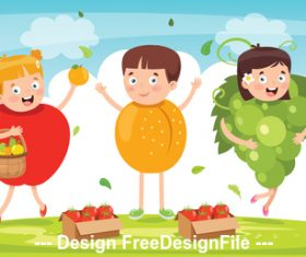Children dressed as vegetables vector